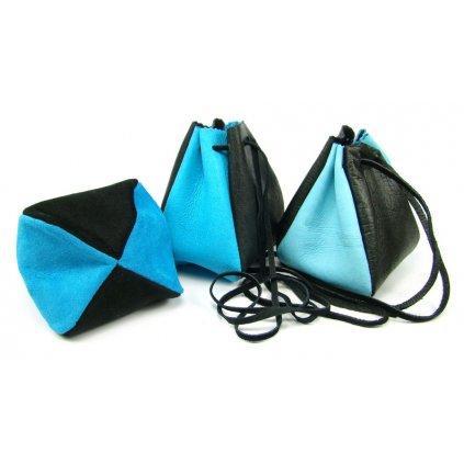 Kožený měšec sytě modrý-černý - 1