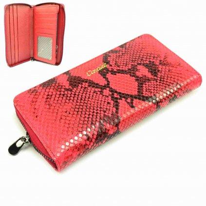 Světle červená dámská peněženka kožená