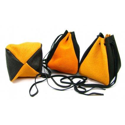 Kožený měšec oranžový-černý - 1