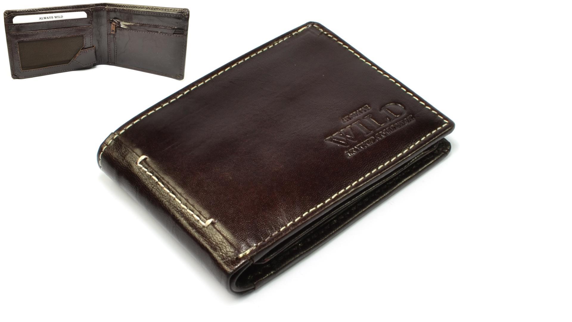 Always Wild Hnědá peněženka pánská kožená