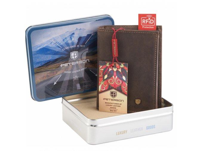 Pánská kožená peněženka Peterson prostorná - hnědá RFID