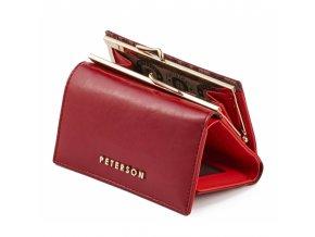 Dámská kožená peněženka Peterson - červená, malá a prostorná