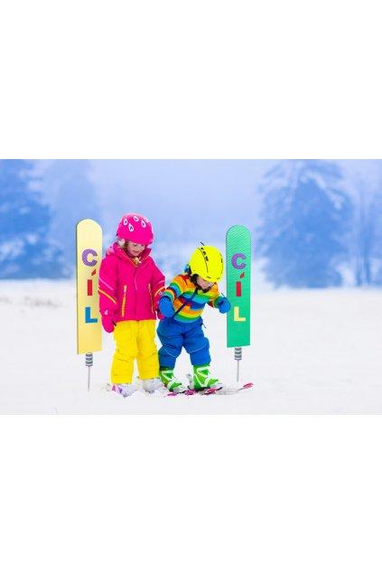 cíl cedule pro lyžařské školky