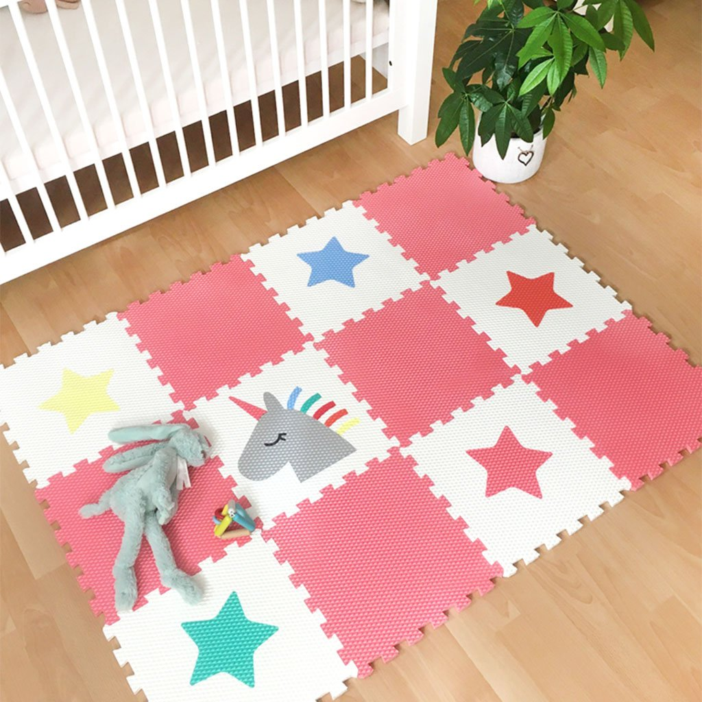 Minideckfloor podlaha 12 dílů - jednorožec a hvězdy