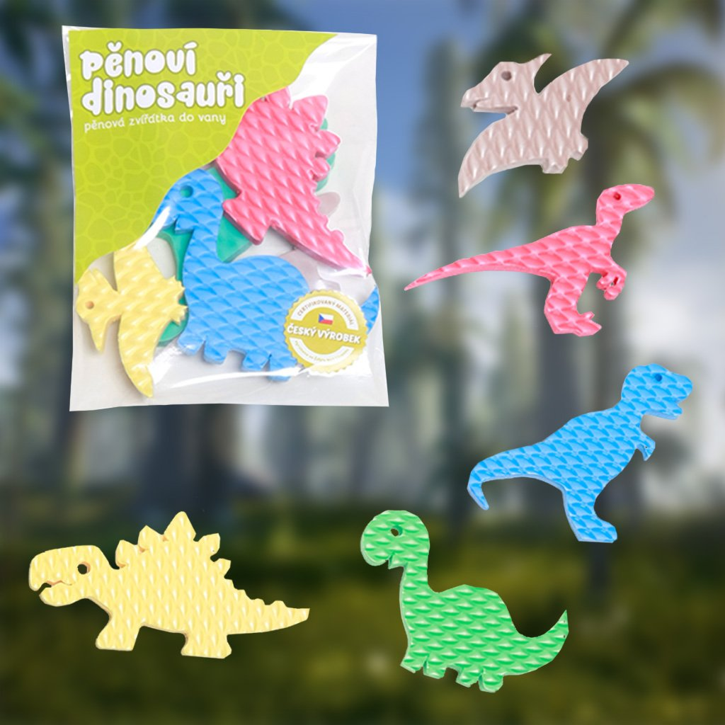 Pěnová zvířátka do vany - Dinosauři