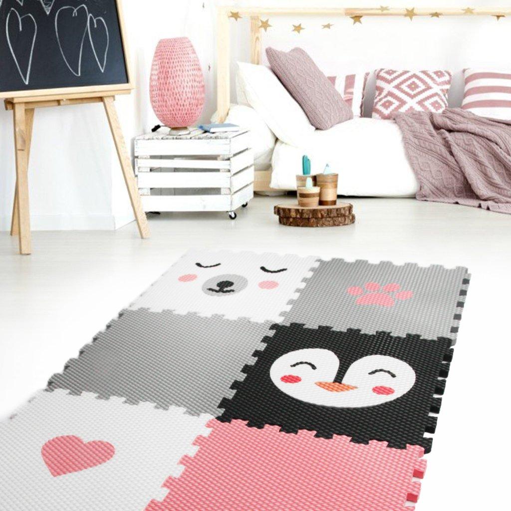 Minideckfloor podlaha 6 dílů - medvěd, tučňák, srdce a tlapka