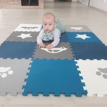 Minideckfloor podlaha 12 dílů - tlapka, mrak, auto, hvězda