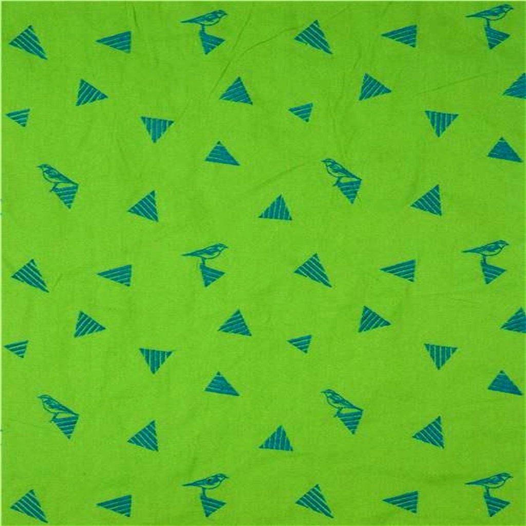 lime green echino embroidered canvas fabric with triangle bird animal 218516 2