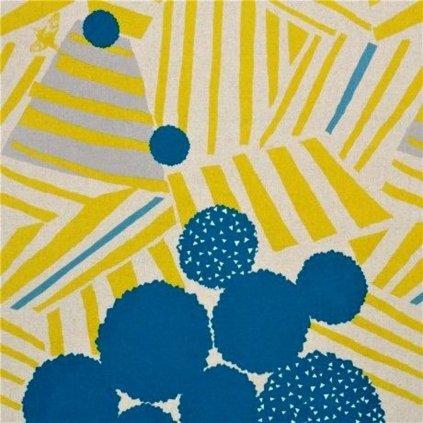 natural color echino canvas fabric blue circle shape stripe silver metallic ray 214079 1