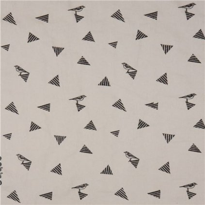 light taupe echino embroidered canvas fabric with triangle bird animal 218517 4