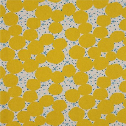 natural color echino canvas fabric with mustard yellow circle shape Bubble 218497 4