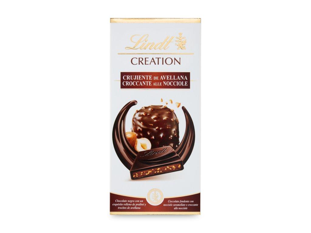 Lindt CREATION Hořká čokoláda plněná lískooříškovou náplní, 150g