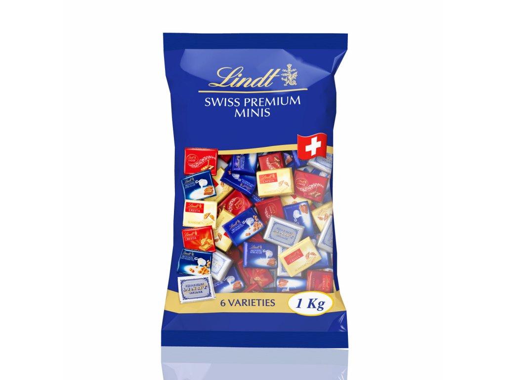 LINDT mini čokoládky  1kg mix 155 ks (mléčná,bílá,hořká) 1 ks 6,4 g