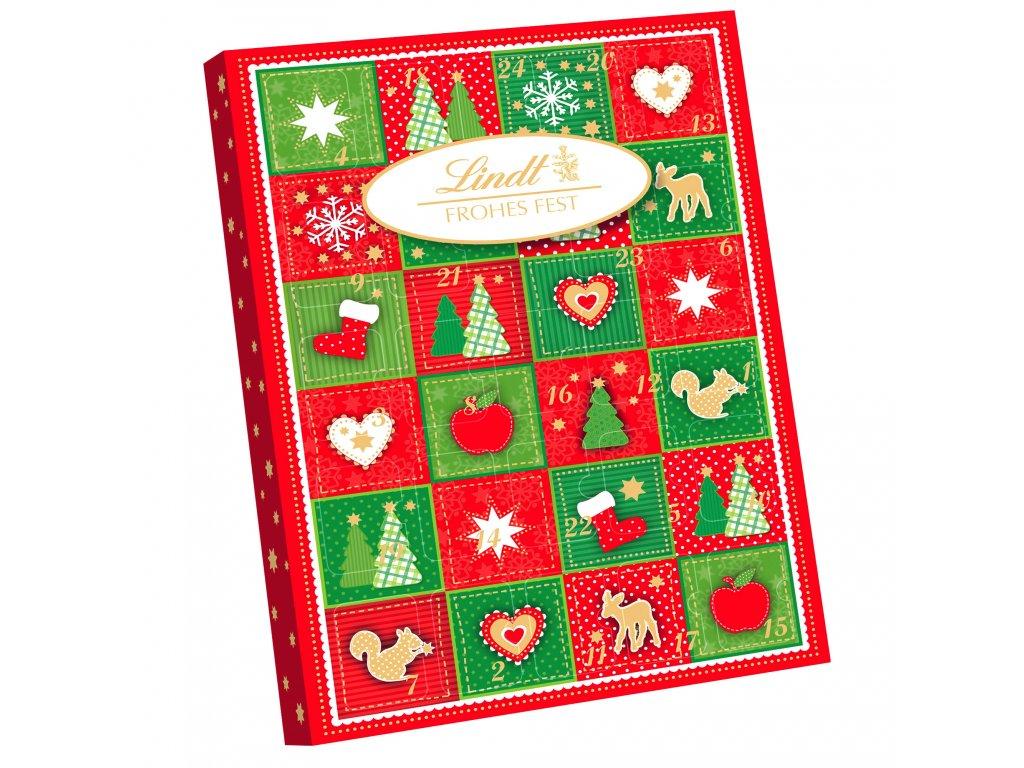 lindt frohes fest mini tisch adventskalender 115g cervenozeleny obdelnik