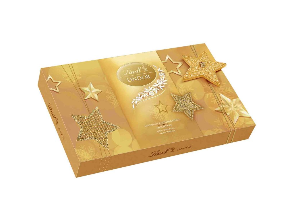 vánoční bonboniera 199g zlata + hvezdy