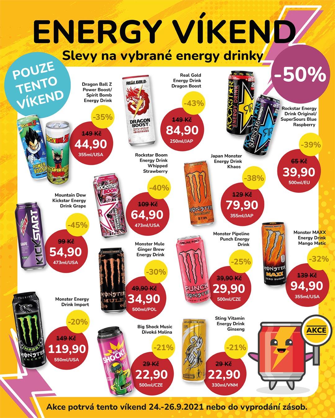 ENERGY VÍKEND: Slevy až -50% na vybrané Energy Drinky