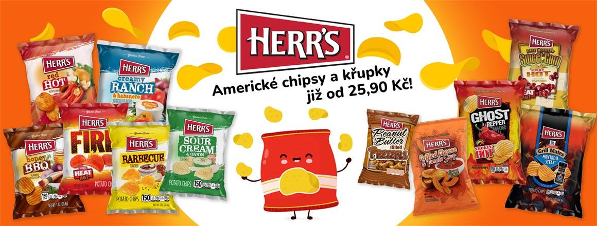 Americké chipsy a křupky Herr's