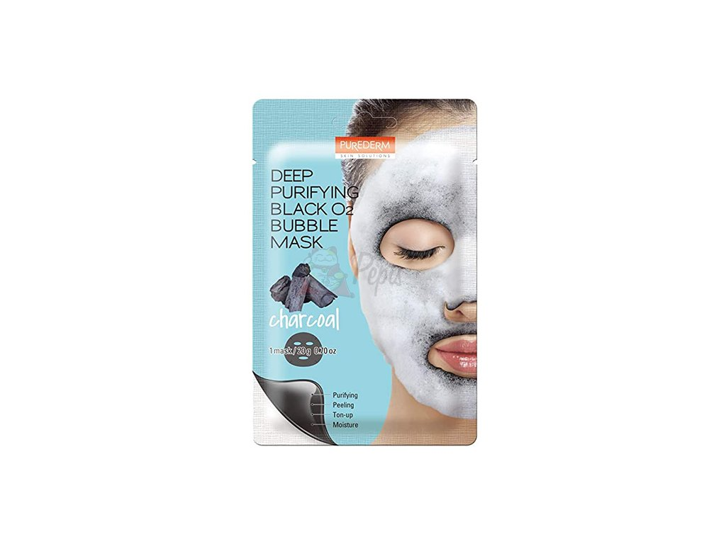 PUREDERM Deep Purifying Black O2 Bubble Sheet Mask (Charcoal)