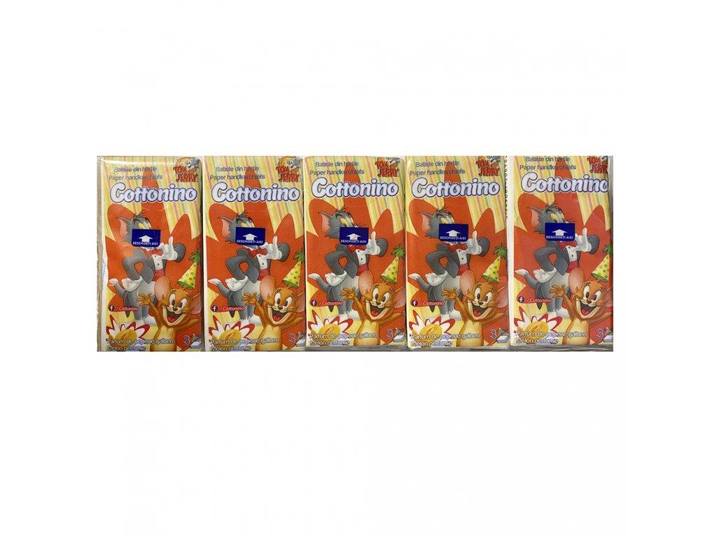 Cottonino Tom & Jerry Papírové Kapesníčky Trojvrstvé 10ks EU