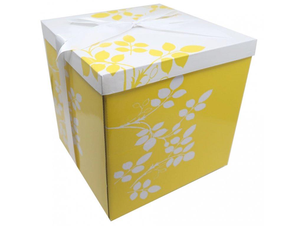 Skládací Dárková Krabice Žlutá s Mašlí XL 25X25cm 1ks CHN