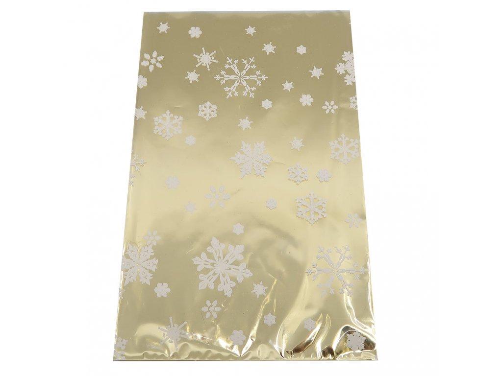 Vánoční Dárkový Sáček Zlatý S Vločkami 25x15cm 1ks CZE