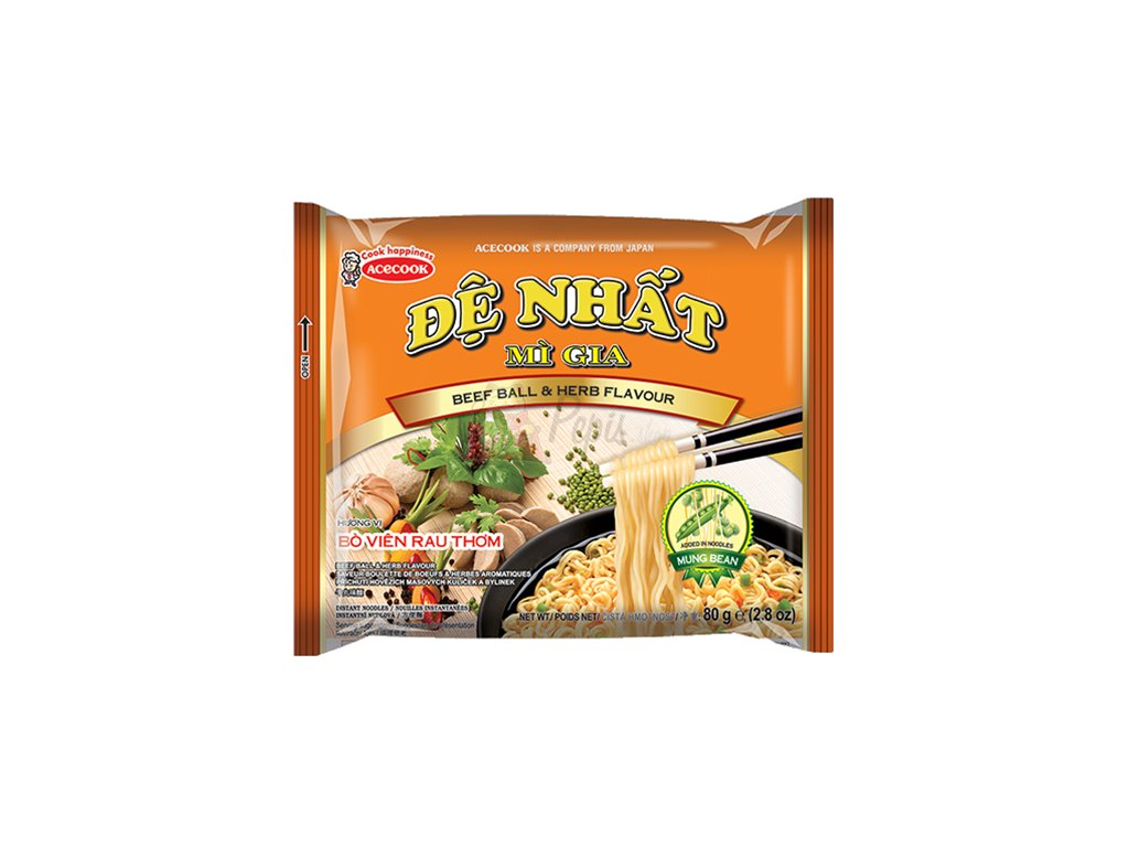 De Nhat Beef Ball Herb Instantní Nudle Hovězí 80g VNM