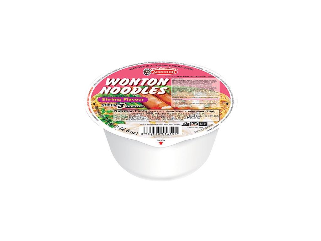 Acecook Wonton Instantní Nudle Krevetové v Misce 75g VNM