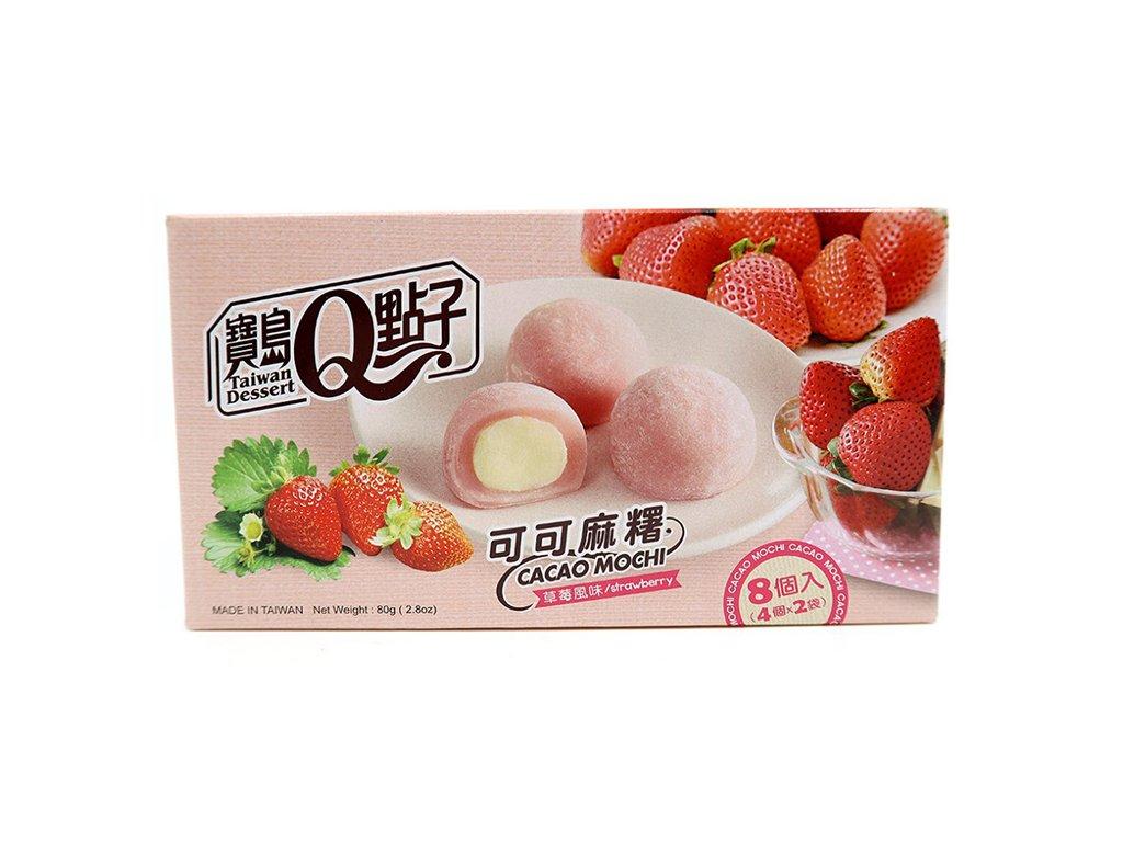 Q Brand Mochi Rýžové Koláčky Kakao Jahoda 80g TWN