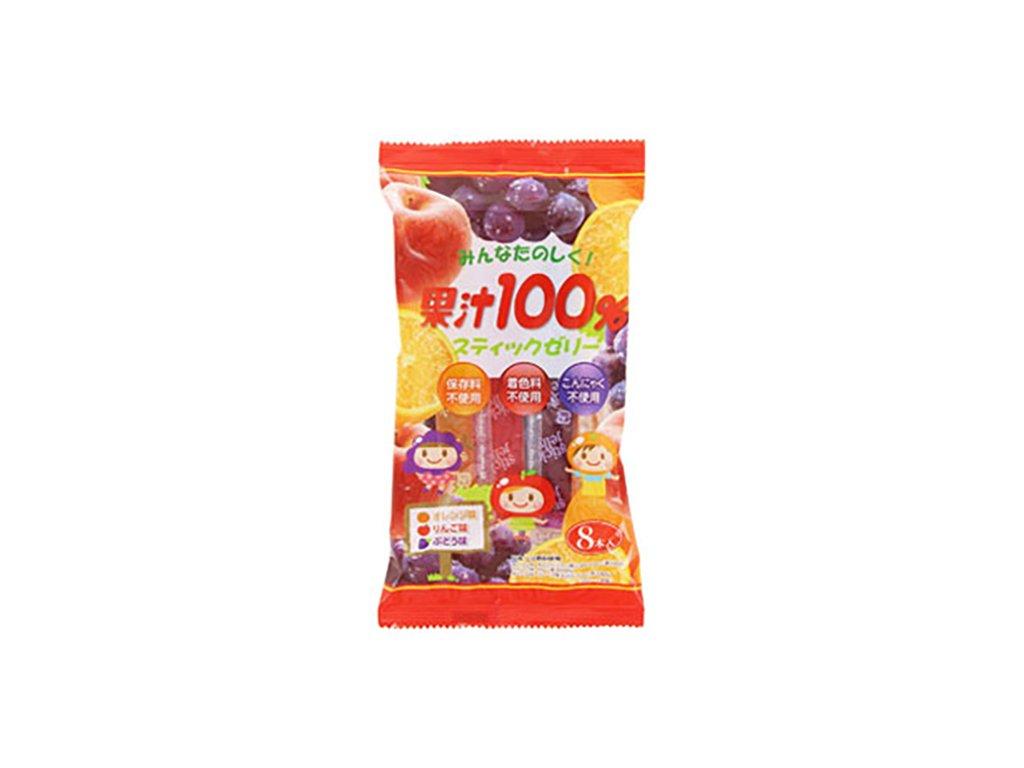 100% Fruit Jelly Sticks Ovocné Želé Trubičky Balení (8ks) 130g JAP