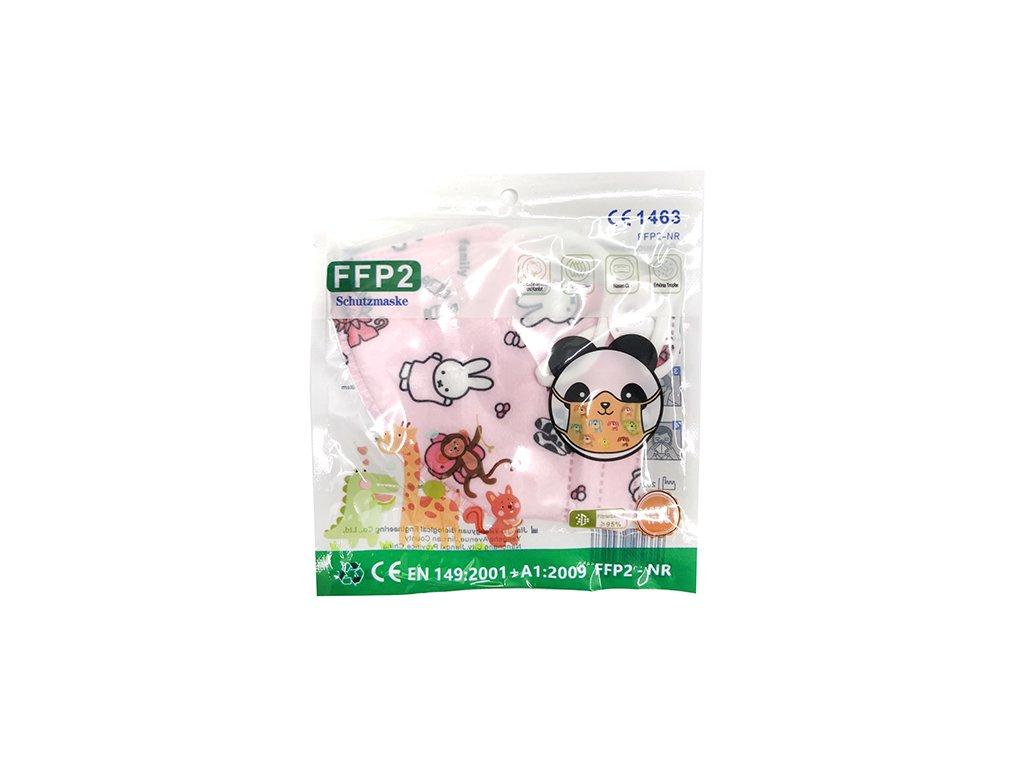 Dětský Respirátor FFP2 Zvířátkový Motiv Růžový 1ks CHN