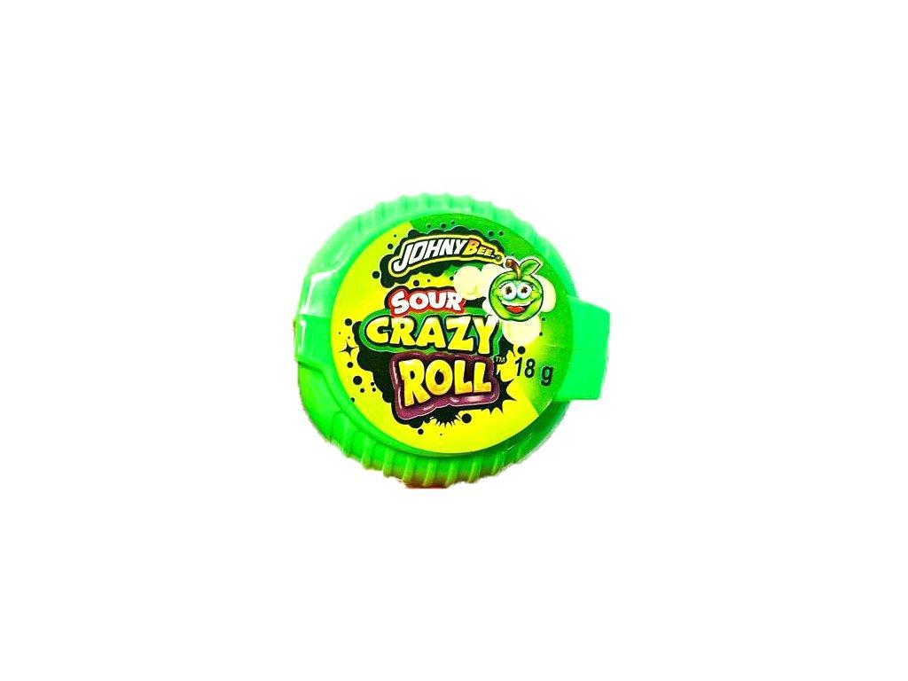 Johny Bee Crazy Roll Bubble Gum Kyselé Jablko 18g POL