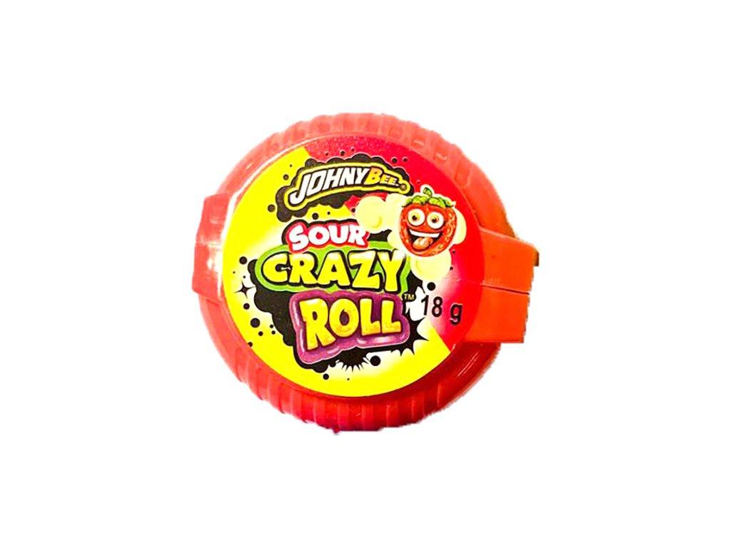 Johny Bee Crazy Roll Bubble Gum Kyselá Jahoda 18g POL