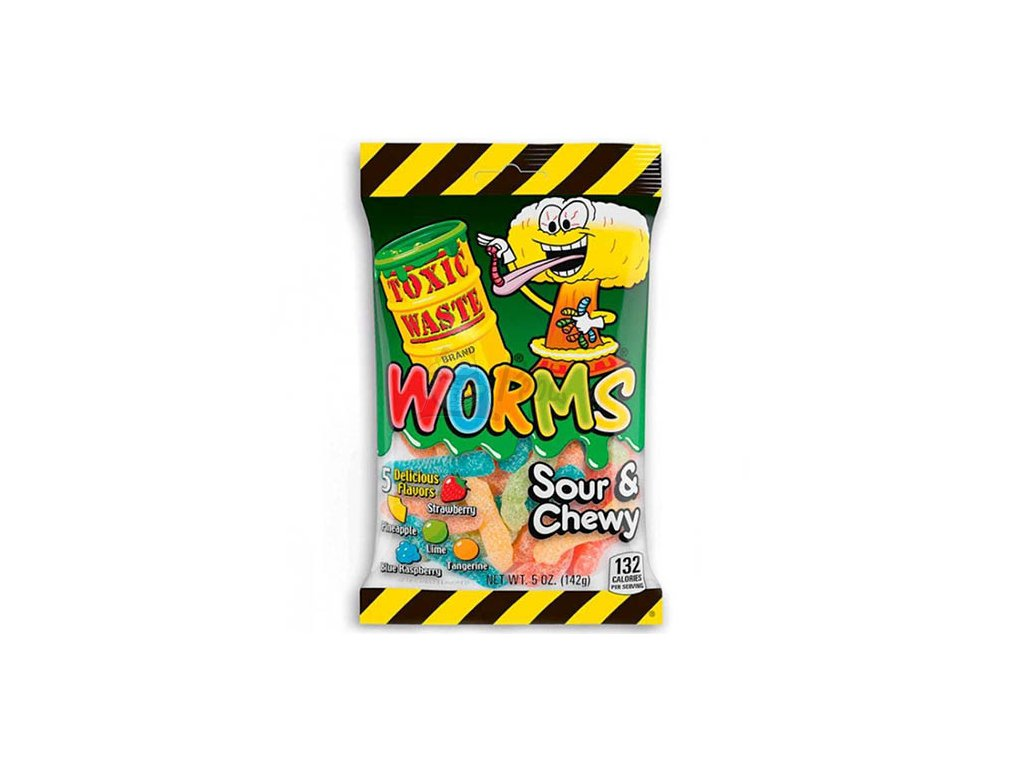 Toxic Waste Worms Sour Chewy Jellies 142g UK