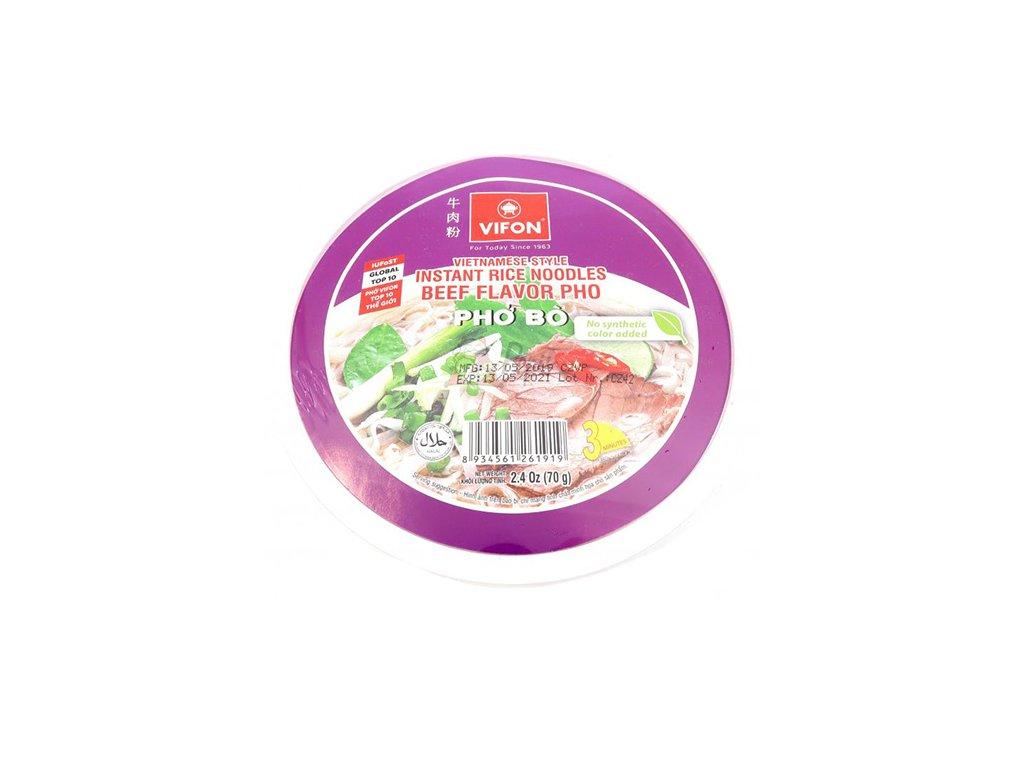Instatní Rýžové Nudle Hovězí Pho Bo v misce 70g VNM