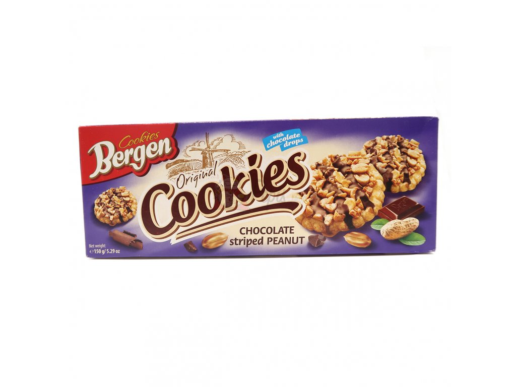 Bergen Cookies Chocolate Striped Peanut 150g PL