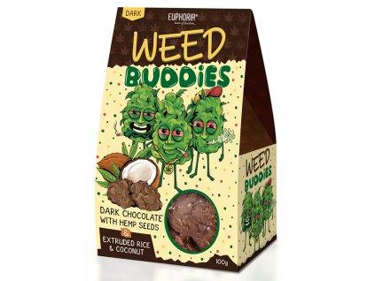 Euphoria Sušenky Weed Buddies Dark Chocolate 100g EU