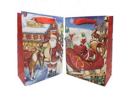 Vánoční Dárková 3D Taška Santa Claus Se Třpytkama Náhodná Druh 24x18cm 1ks CHN