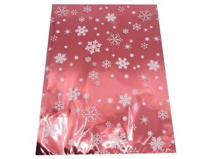 Vánoční Dárkový Sáček Červený S Vločkami 35x25cm 1ks CZE