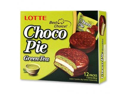 Lotte Choco Pie Green Tea Koláčky Balení 336g KOR