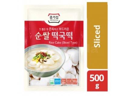 Jongga Topokki Rice Cake (Sliced Type) Předvařené Rýžové Těstoviny TTeokpokki 500g KOR