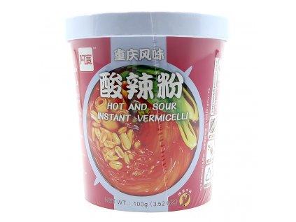 Instantní Skleněné Nudle Hot And Sour Pálivé Kyselé v Misce 100g CHN