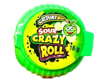 Johny Bee Crazy Roll Bubble Gum Kyselé Jablko 18g POL