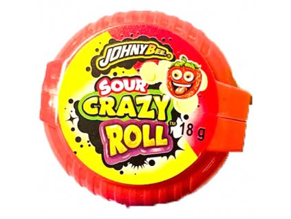 Johny Bee Crazy Roll Bubble Gum Kyselá Jahoda 18g POL