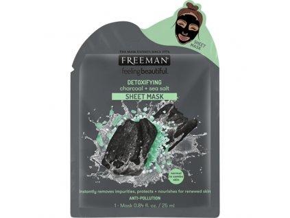 Freeman Detoxikační Pleťová Plátýnková Maska S Obsahem Černého Uhlí 26ml USA