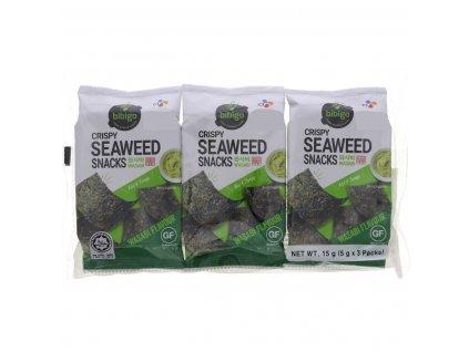 CJ Bibigo Crispy Seaweed Snacks Wasabi Flavour 3 x 5g 1063211 01