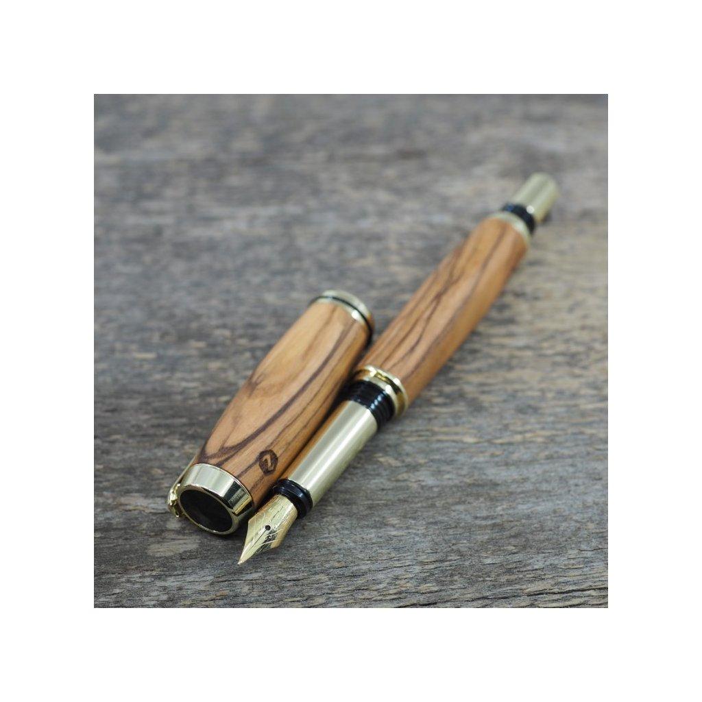 luxusni drevene plnici pero Portland S Betlemska Oliva zlate (9)