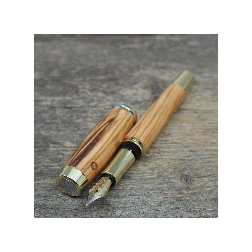 luxusni drevene plnici pero Portland L Betlemska Oliva zlate (9)