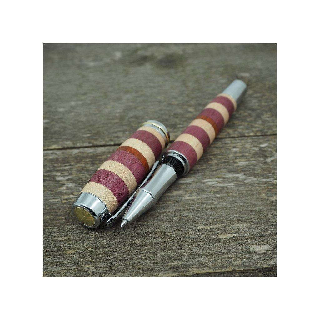Dřevěné kuličkové pero Portland L - Amaranth, Padouk, Javor