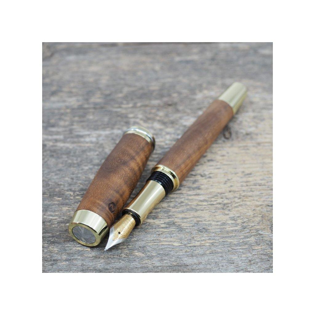 luxusni drevene plnici pero Portland L Americky Orech zlate (9)