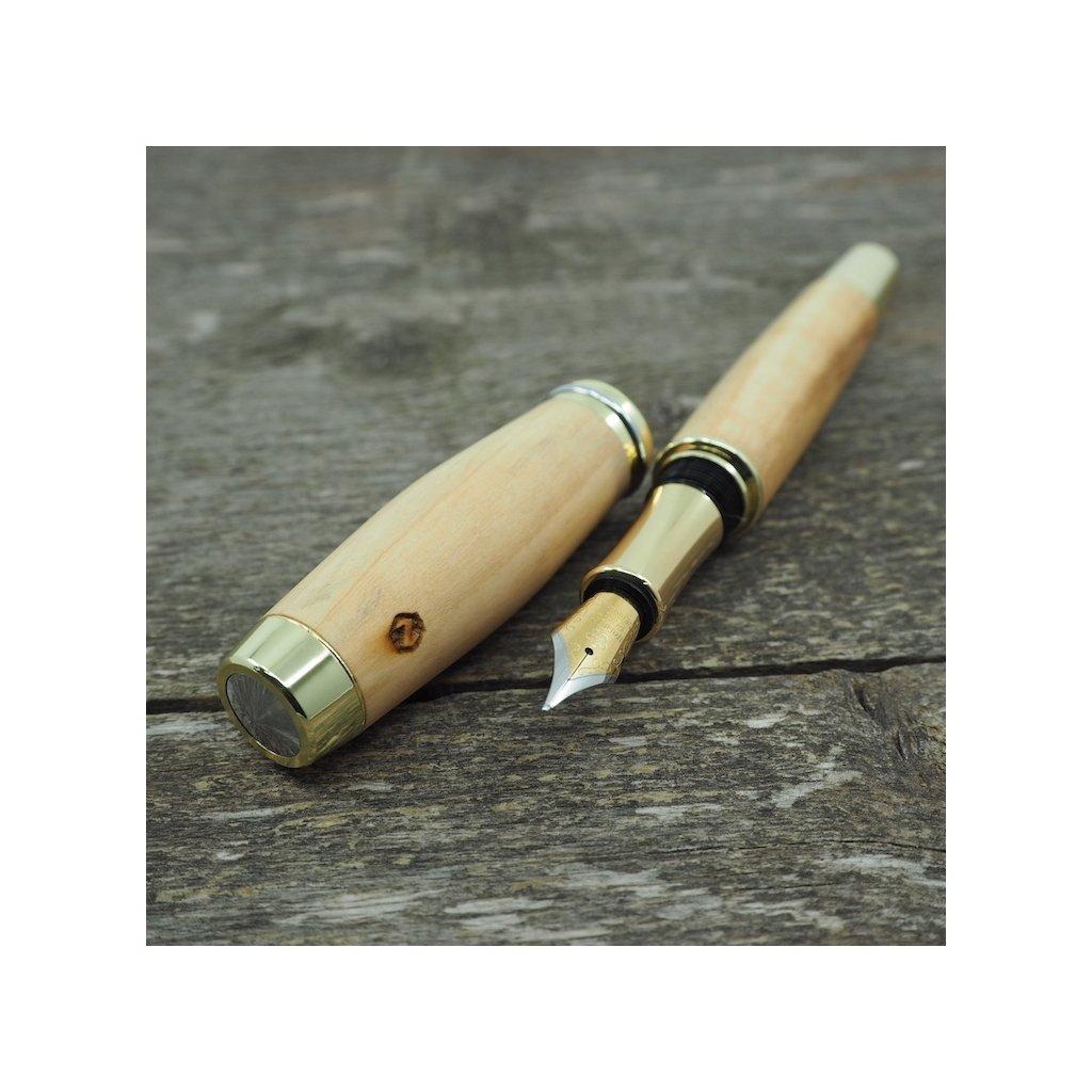 Dřevěné plnicí pero Portland L - Sicilská oliva - zlaté 4